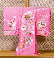 綸子ピンク絞り入り・刺繍毬